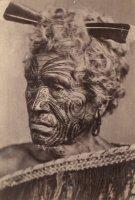 Tatuaggio sul volto di un maori, fotografia di fine XIX secolo